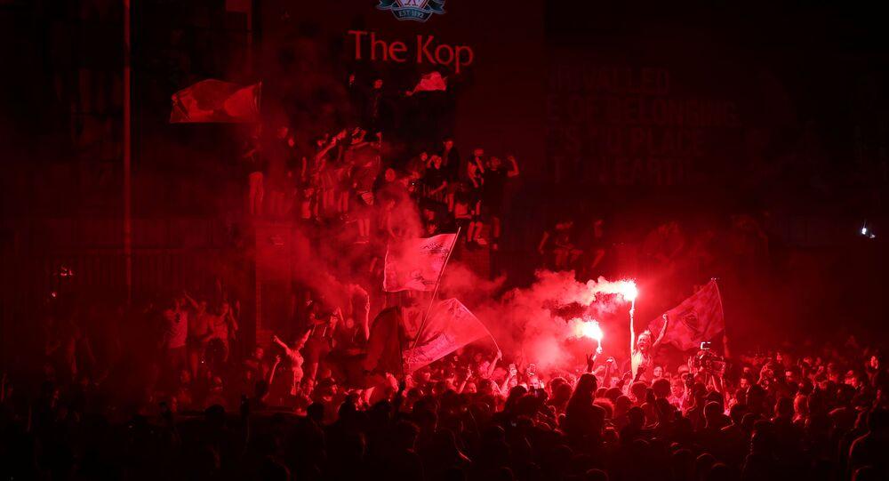 Liverpool fans celebrate winning the Premier League - Liverpool, Britain - June 25, 2020
