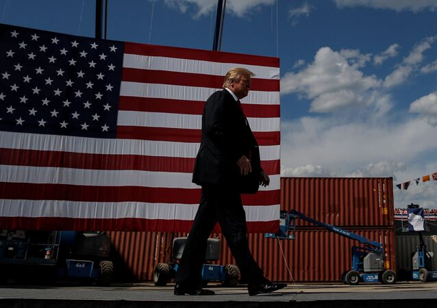 U.S. President Donald Trump arrives to deliver a speech following a tour of Fincantieri Marinette Marine in Marinette, Wisconsin, U.S., June 25, 2020.