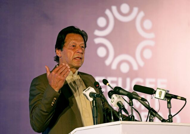 Pakistan's Prime Minister Imran Khan speaks during an international conference on the future of Afghan refugees living in Pakistan, organized by Pakistan and the UN Refugee Agency in Islamabad, Pakistan February 17, 2020