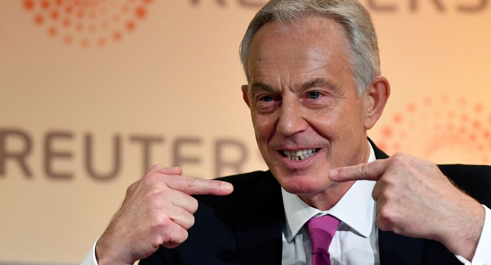 Former British Prime Minister Tony Blair speaks during an interview with Axel Threlfall at a Reuters Newsmaker event on The challenging state of British politics in London, Britain, November 25, 2019