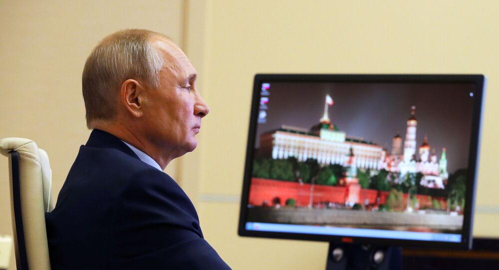 Russian President Vladimir Putin holds a meeting with members of the Russian Civic Chamber via video link from Novo-Ogarevo residence, outside Moscow, Russia