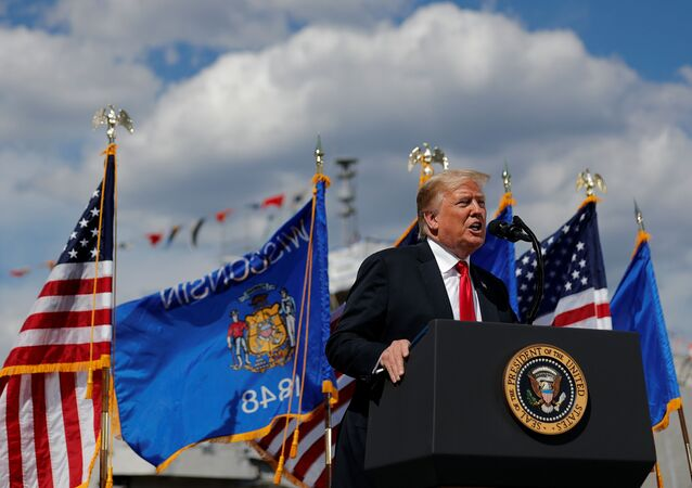 U.S. President Donald Trump delivers a speech following a tour of Fincantieri Marinette Marine in Marinette, Wisconsin, U.S., June 25, 2020