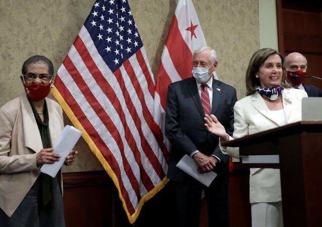 House Speaker Nancy Pelosi (D-CA) recognizes Rep. Eleanor Holmes Norton (D-DC) (L) during a joint news conference in advance of Friday's historic House vote on District of Columbia statehood bill on Capitol Hill in Washington, U.S., June 25, 2020.