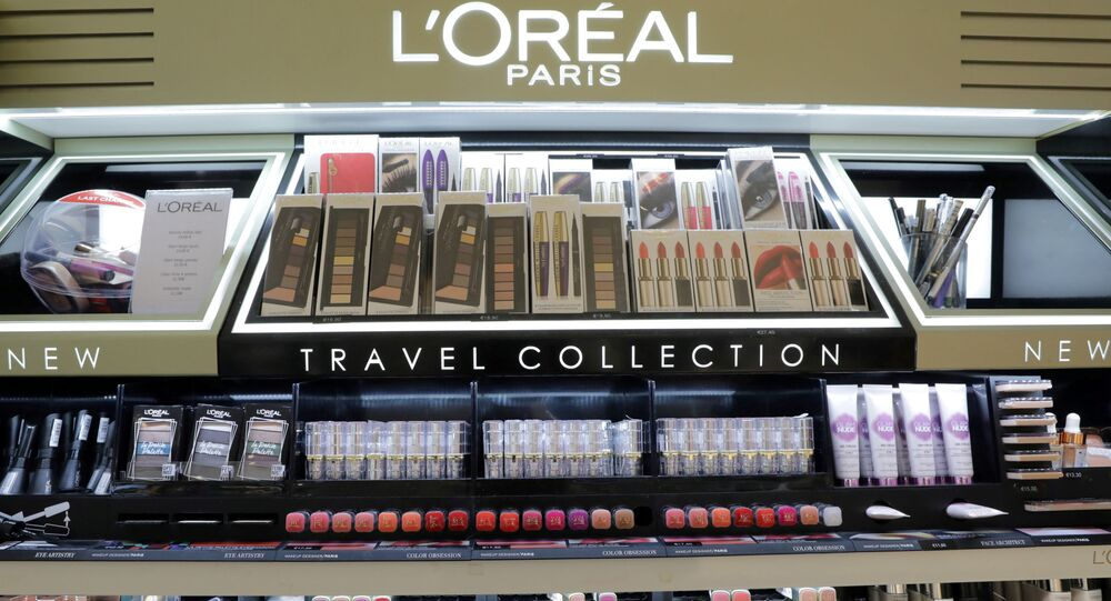 A cosmetic display of French cosmetics group L'Oreal at the Nice International Airport, in Nice, France, October 10, 2018.