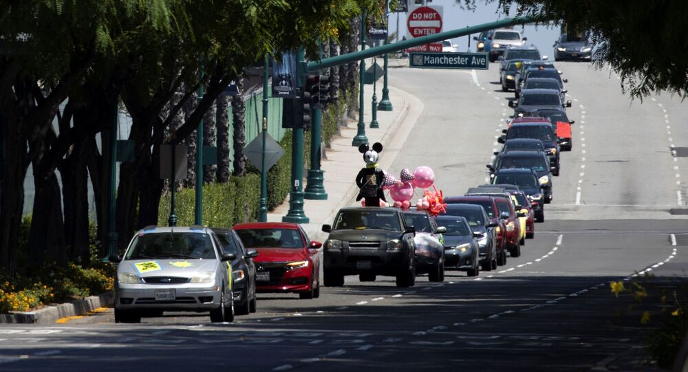 Car caravan outside Disneyland California