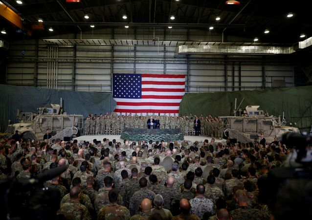 U.S. President Donald Trump delivers remarks to U.S. troops during an unannounced visit to Bagram Air Base, Afghanistan, November 28, 2019.