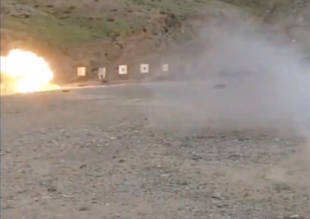 One of Iran's new anti-fortification weapons during testing at a range. Screengrab from video by Tasnim.
