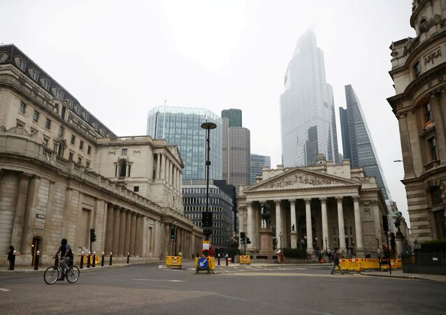 A general view of The Bank of England and the Royal Exchange as the spread of the coronavirus disease (COVID-19) continues, in London, Britain, March 19, 2020