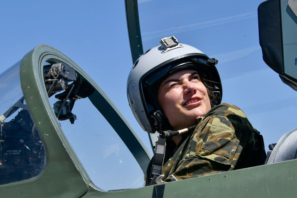 Training flights of female cadets of the Krasnodar Air Force Academy specialising in assault, fighter, and long-range aviation at the Kushchevsky Airfield in the Krasnodar Territory.