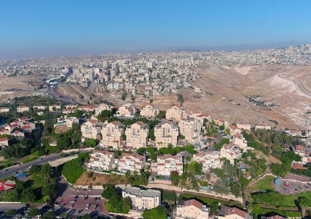 An aerial view shows the Jewish settlement of Maale Adumim in the Israeli-occupied West Bank, June 29, 2020. Picture taken with a drone.
