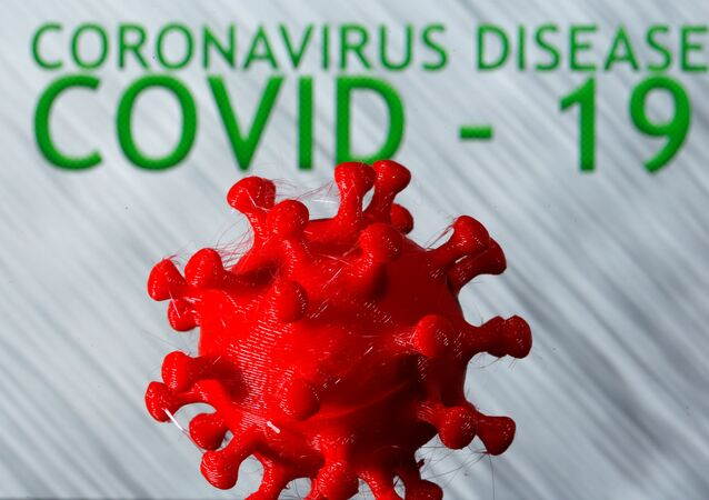 A 3D-printed coronavirus model is seen in front of the words coronavirus disease (Covid-19) on display in this illustration taken March 25, 2020.