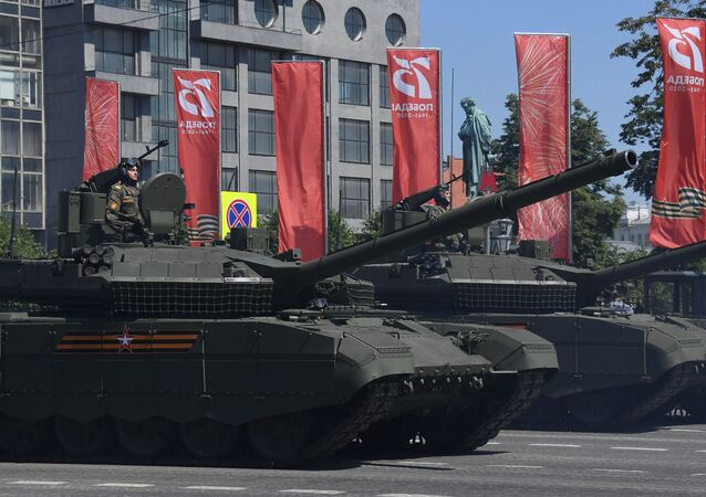 T-90M Proryv ('Breakthrough') tanks at the June 24, 2020 parade in Moscow.