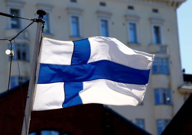 Finland's flag flutters in Helsinki, Finland, May 3, 2017.