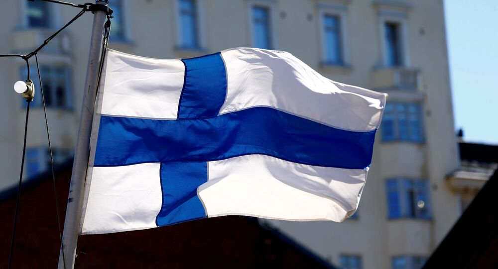 Finland's flag flutters in Helsinki, Finland, 3 May 2017.