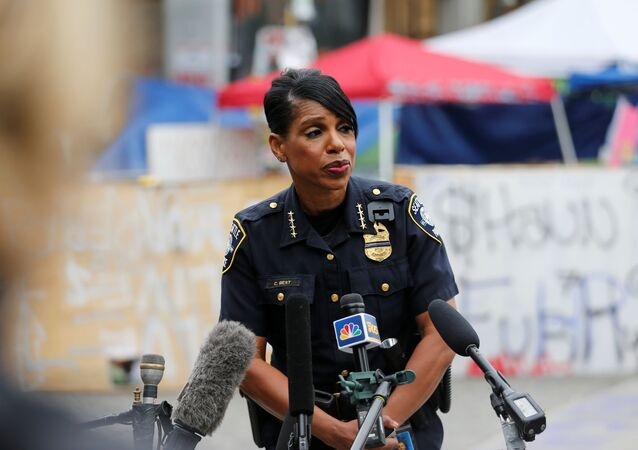 Seattle Police Chief Carmen Best holds a news conference inside the CHOP (Capitol Hill Organized Protest) area in front of the Seattle Police Department - East Precinct, hours after a fatal shooting as people occupy space in the aftermath of the death in Minneapolis police custody of George Floyd, in Seattle, Washington, U.S. June 29, 2020.