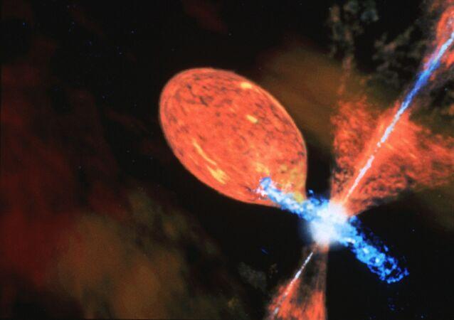 Artists Impression of R Aquarii, A Symbiotic Star