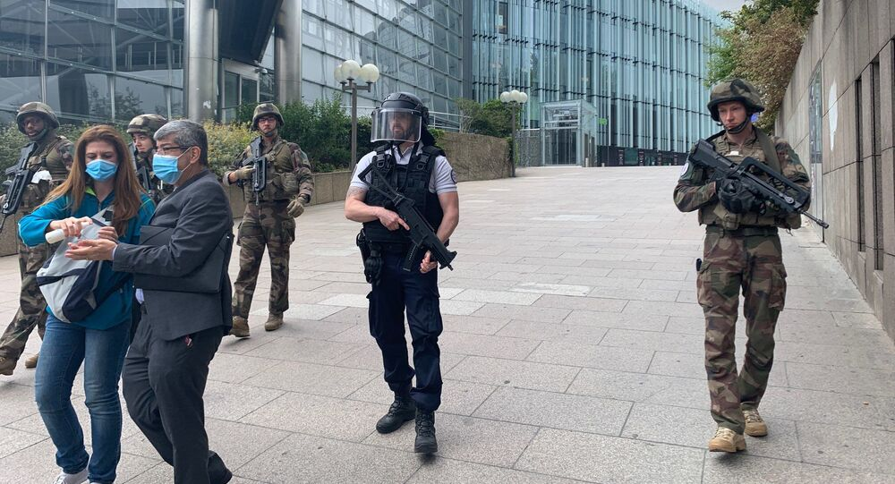 Police special operation takes place in the Quatre Temps shopping center in the business suburb of Paris