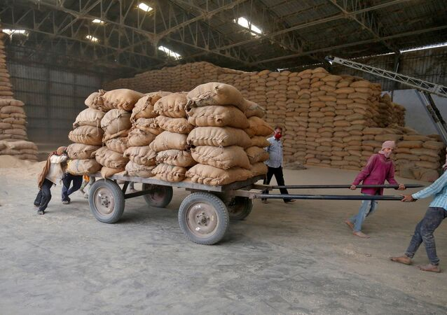 Labourers move a cart loaded with rice bags inside a food processing unit, which was reopened after weeks-long shutdown to slow the spread of coronavirus disease (COVID-19), on the outskirts of Ahmedabad, India, April 20, 2020