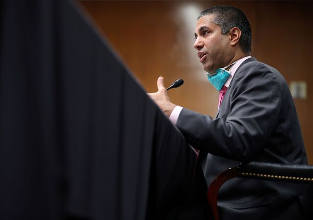 FCC Chairman, Ajit Pai, testifies during a Senate Appropriations Subcommittee hearing on Capitol Hill in Washington, D.C., U.S., June 16, 2020