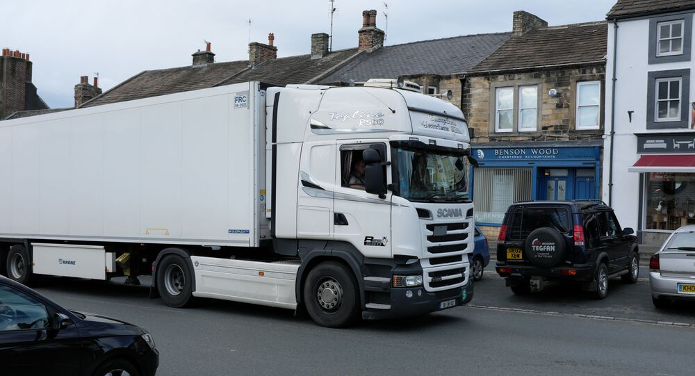 Big white lorry near to Barnard Castle, County Durham, Great Britain