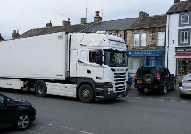 Big white lorry near to Barnard Castle, County Durham, Great Britain