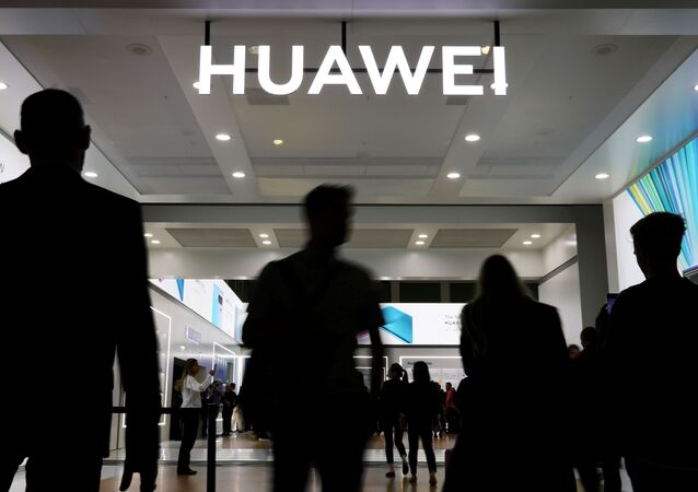 The Huawei logo is pictured at the IFA consumer tech fair in Berlin