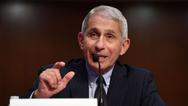 Dr Anthony Fauci, director of the National Institute for Allergy and Infectious Diseases, testifies during a Senate Health, Education, Labor and Pensions (HELP) Committee hearing on Capitol Hill in Washington, U.S., June 30, 2020. - Sputnik International