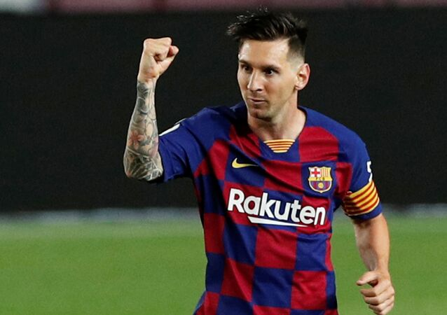 June 30, 2020  Barcelona's Lionel Messi celebrates scoring their second goal, as play resumes behind closed doors following the outbreak of the coronavirus disease (COVID-19)