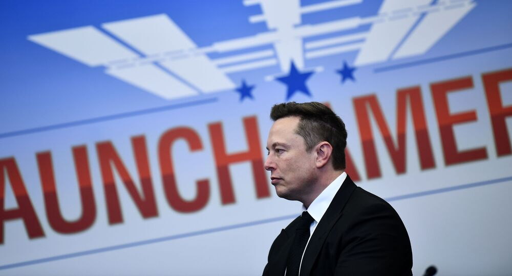 Elon Musk looks on as US President Donald Trump attends SpaceX launch at the Kennedy Space Center in Florida on May 27, 2020.