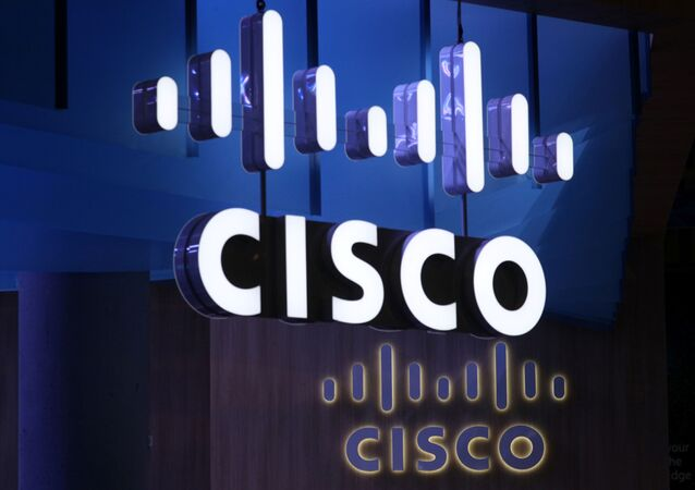 The Cisco logo is seen at their booth at the Mobile World Congress in Barcelona, Spain