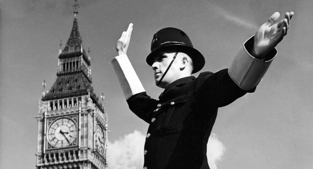 Undated picture showing a Metropolitan Police Constable on traffic duty in parliament at London