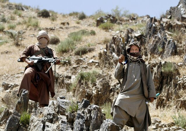 In this Friday, 27 May 2016 photo, Taliban fighters stand guard as a senior leader of a breakaway faction of the Taliban, Mullah Abdul Manan Niazi, not pictured, delivers a speech to his fighters, in Shindand district of Herat province, Afghanistan