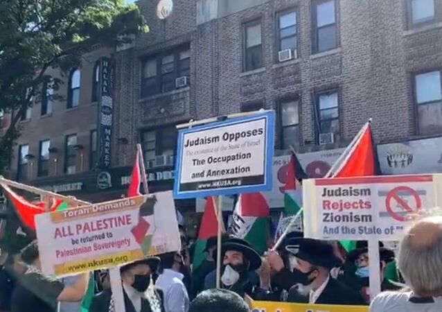 A general view of the 'Day of Rage' rally to protest Israeli annexation plans in the West Bank, in Brooklyn, New York, July 1, 2020
