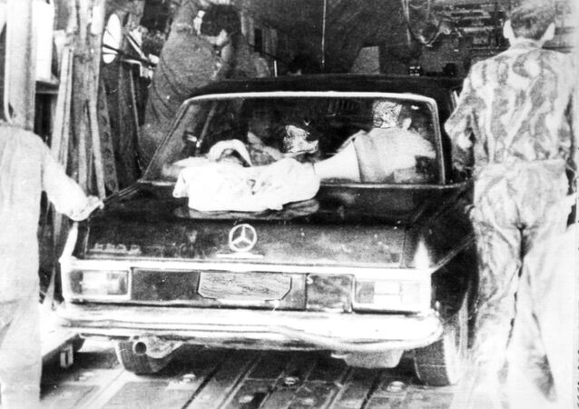 A Mercedes car used to fool Uganda soldiers in Israeli raid on Entebbe parked aboard Israeli transport plane upon return from the 4 July, 1976 operation. File photo