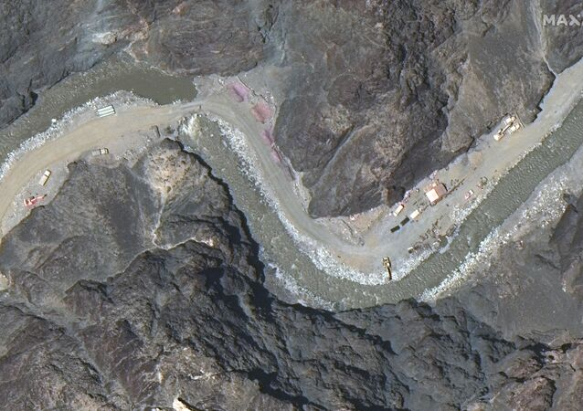 Maxar WorldView-3 satellite image shows close up view of road construction near the Line of Actual Control (LAC) border in the eastern Ladakh sector of Galwan Valley June 22, 2020.