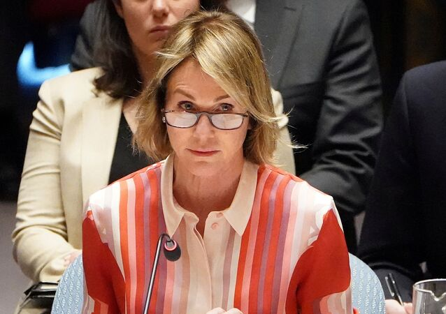 U.S. Ambassador to the United Nations Kelly Craft speaks during a Security Council meeting about the situation in Syria at United Nations Headquarters in the Manhattan borough of New York City, New York, U.S., February 28, 2020