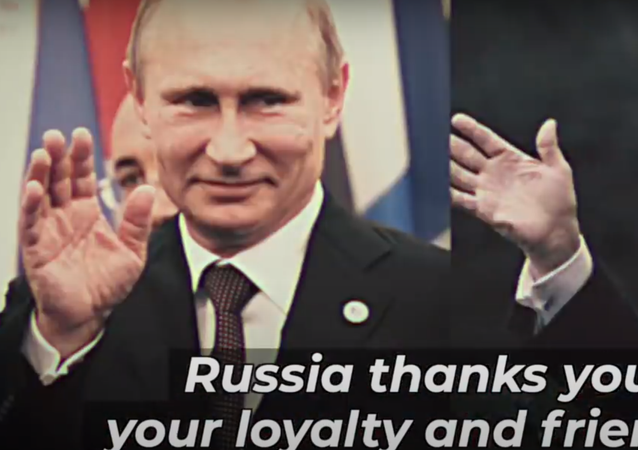 Screenshot of The Lincoln Project ad with Trump getting mock endorsement from Putin