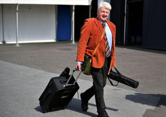 FILE PHOTO: Stanley Johnson, father of Boris Johnson, arrives at a hustings event with Britain's Conservative Party leadership candidates Boris Johnson and Jeremy Hunt, in Exeter, Britain, June 28, 2019.