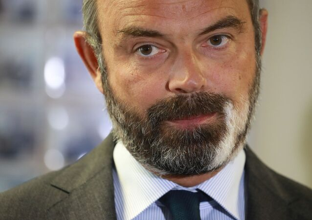 French Prime Minister Edouard Philippe gives a press conference in Evry, south-east of Paris Tuesday June 9, 2020