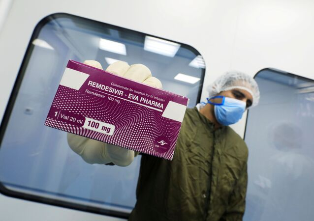 A lab technicians shows the coronavirus disease (COVID-19) treatment drug Remdesivir at Eva Pharma Facility in Cairo, Egypt June 25, 2020