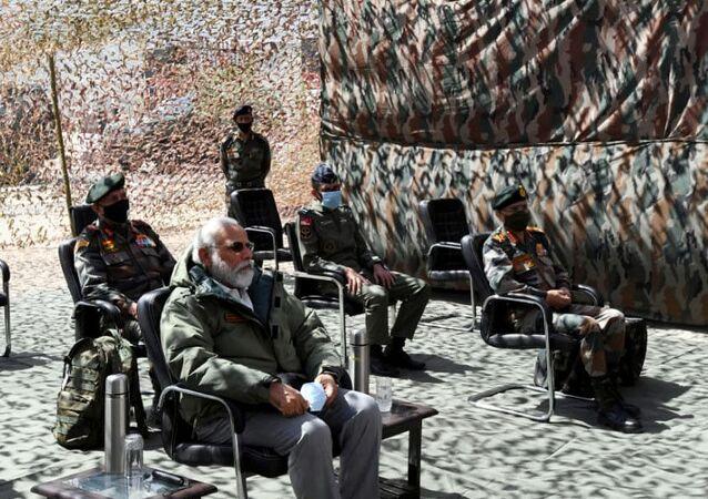 India's Prime Minister Narendra Modi visits Himalayan region of Ladakh July 3, 2020.