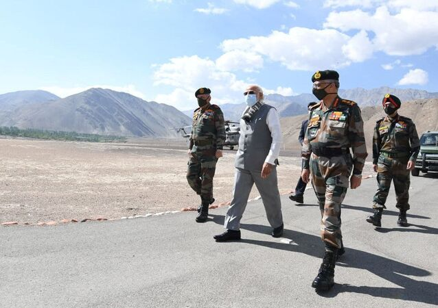 India's Prime Minister Narendra Modi visits Himalayan region of Ladakh, July 3, 2020.