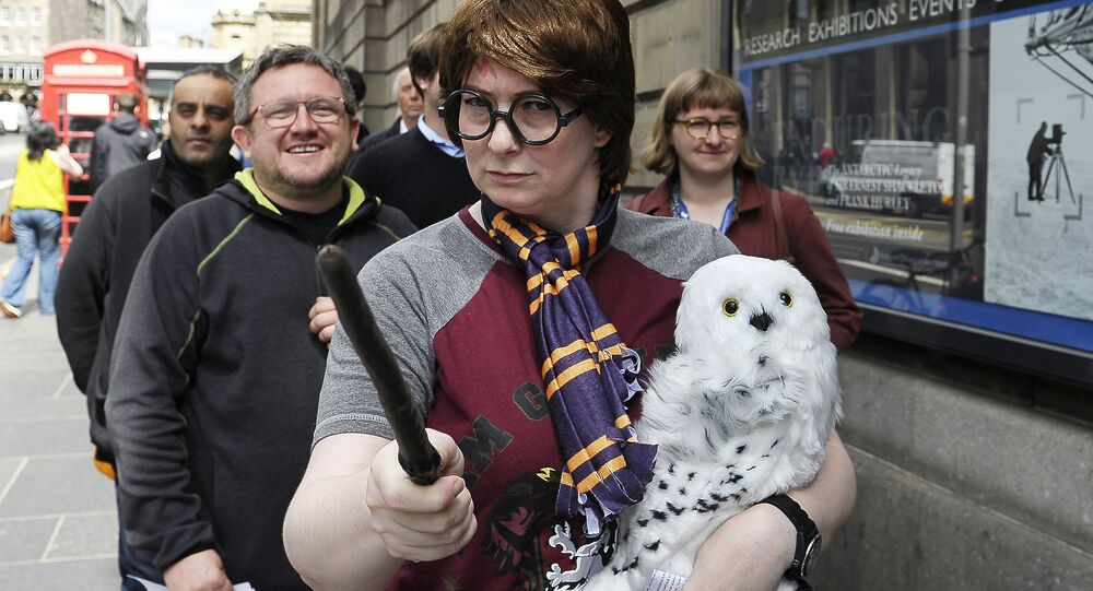 Fans of J.K. Rowling's Harry Potter books queue outside the The National Library of Scotland in Edinburgh, Scotland on June 26, 2017