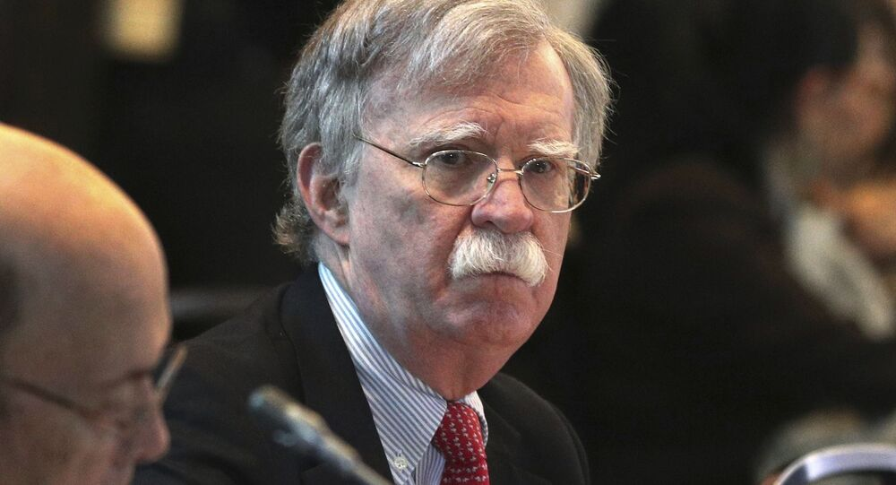 U.S. National security adviser John Bolton, attends a conference of more than 50 nations that largely support Venezuelan opposition leader Juan Guaido in Lima, Peru, Tuesday, Aug. 6, 2019