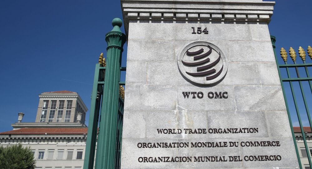A logo is pictured on the headquarters of the World Trade Organization (WTO) in Geneva, Switzerland, June 2, 2020.