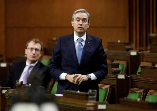 Canada's Minister of Foreign Affairs Francois-Philippe Champagne speaks in the House of Commons as legislators convene to give the government power to inject billions of dollars in emergency cash to help individuals and businesses through the economic crunch caused by the novel coronavirus outbreak, on Parliament Hill in Ottawa, Ontario, Canada March 25, 2020.