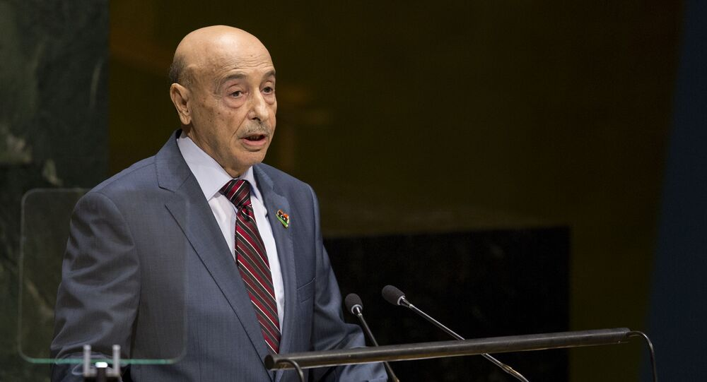 Aguila Saleh Essa Gwaider, President of the House of Representatives, of Libya, addresses the 69th United Nations General Assembly at U.N. headquarters, Saturday, Sept. 27, 2014.