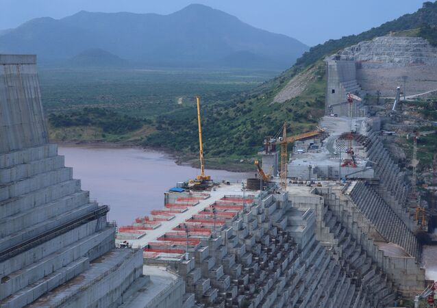 Ethiopia's Grand Renaissance Dam is seen as it undergoes construction on the river Nile in Guba Woreda, Benishangul Gumuz Region, Ethiopia, 26 September 2019.