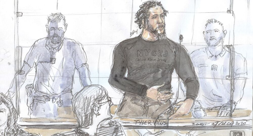 A file court sketch made on 25 June 2020 at the Paris courthouse shows French jihadist also called the Daesh emir Tyler Vilus speaking during the opening of his trial at the special assizes of the Paris' courthouse, on the crimes committed in Syria between 2013 and 2015.