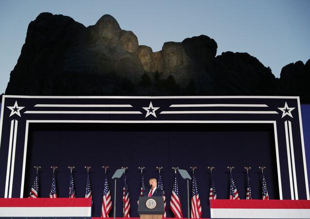 U.S. President Trump gives a speech during South Dakota's U.S. Independence Day Mount Rushmore fireworks celebrations at Mt. Rushmore in South Dakota, U.S., July 3, 2020